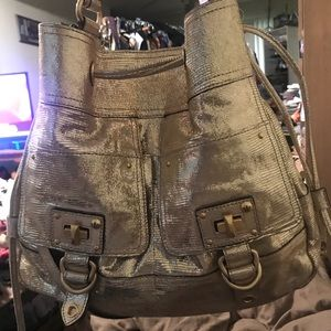 Juicy Couture Snakeskin Leather Drawstring Handbag